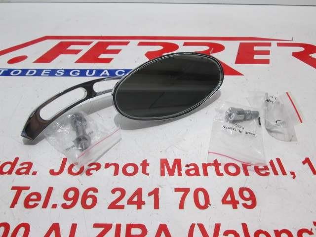 ESPEJO CROMADO OVAL TIPO BILLET de repuesto para varios modelos de moto