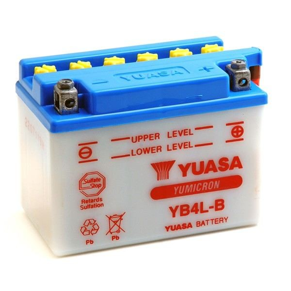 Battery for scooter or moped model brand YUASA 12V 4Ah YB4L-Bde (with acid).