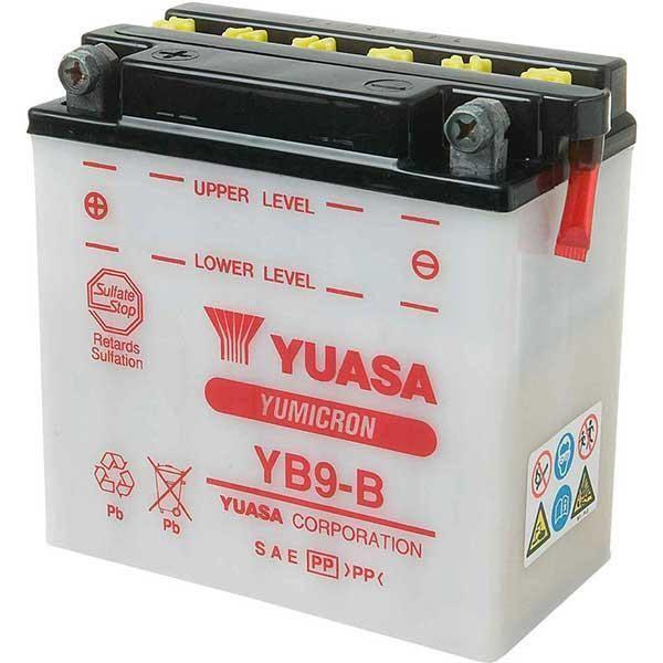 Bateria para moto o ciclomotor marca YUASA modelo YB9-B de 12v 9Ah