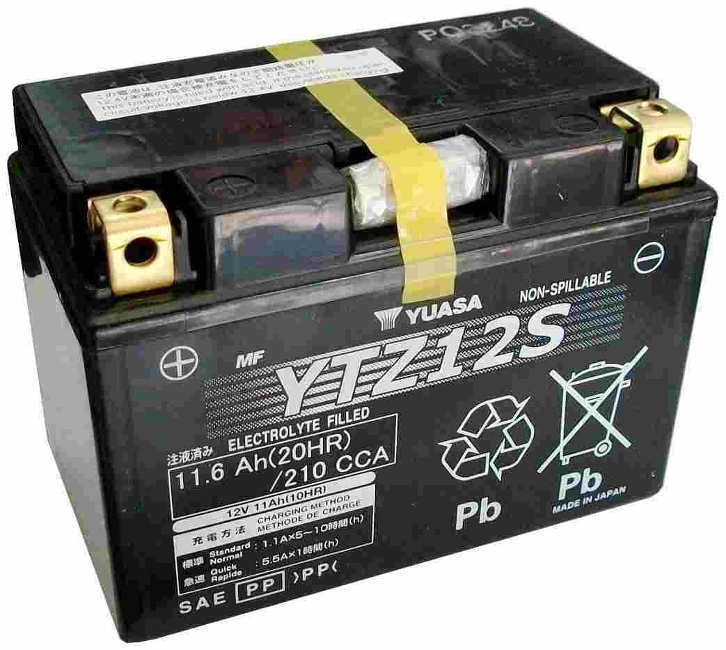 Bateria para moto o ciclomotor marca YUASA modelo YTZ12S de 12v 11Ah