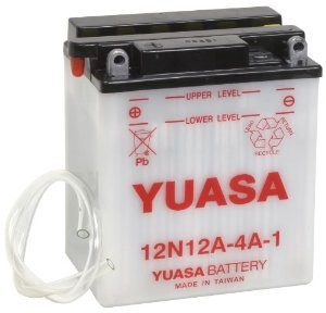 Battery for scooter or moped brand YUASA model 12N12A-4A-1 of 12v 12Ah.