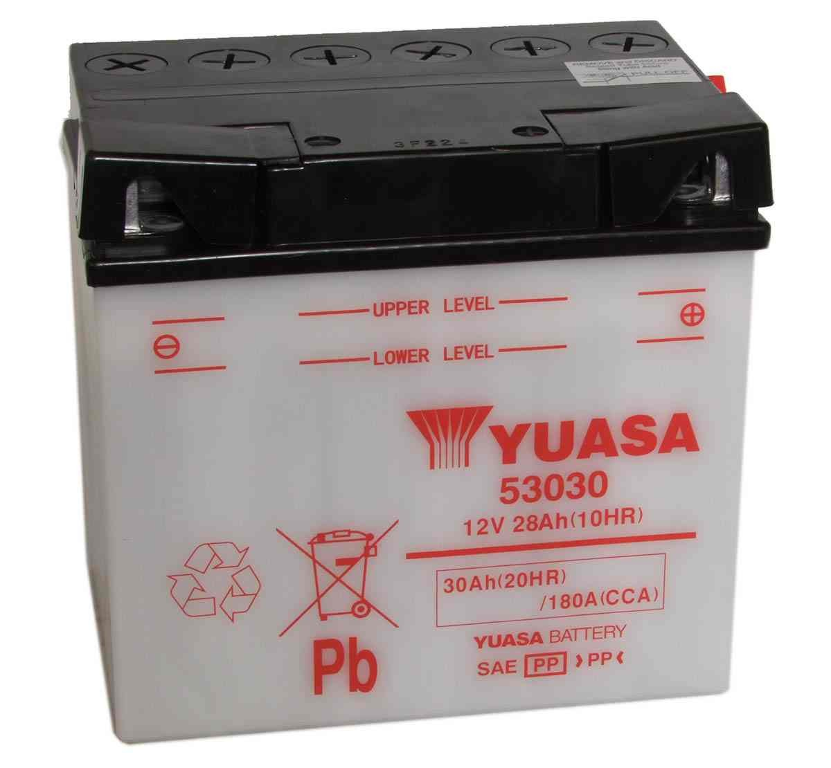 Battery for scooter or moped brand YUASA 12V 30Ah 53030de model.