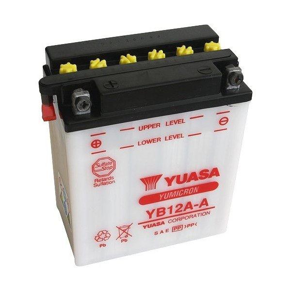 Bateria para moto o ciclomotor marca YUASA modelo YB12A-A de 12v 12Ah