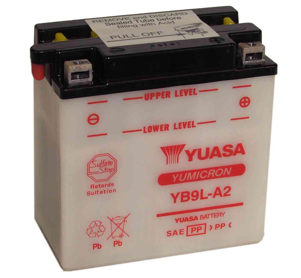 Bateria para moto o ciclomotor marca YUASA modelo YB9L-A2 de 12v 9Ah