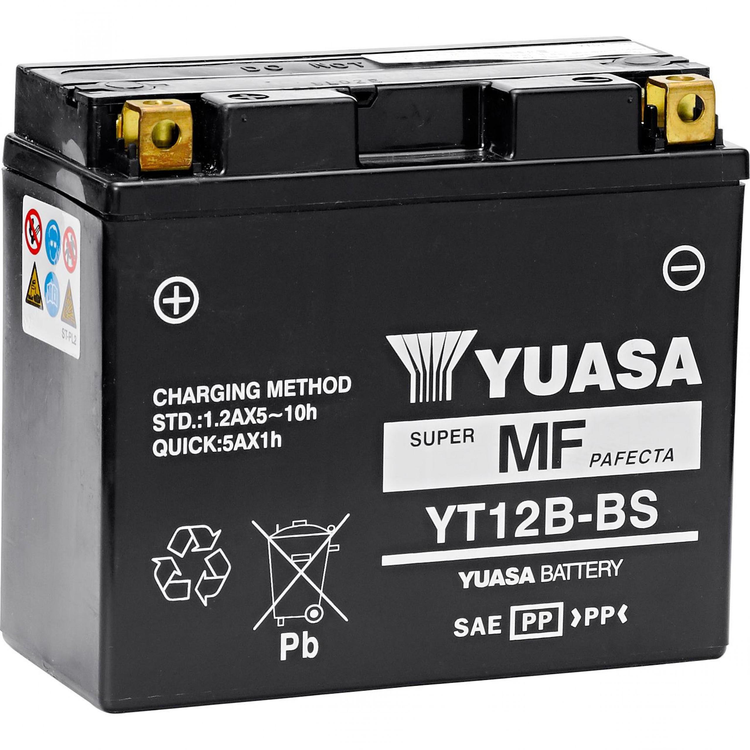 Bateria para moto o ciclomotor marca YUASA modelo YT12B-BS de 12v 10Ah