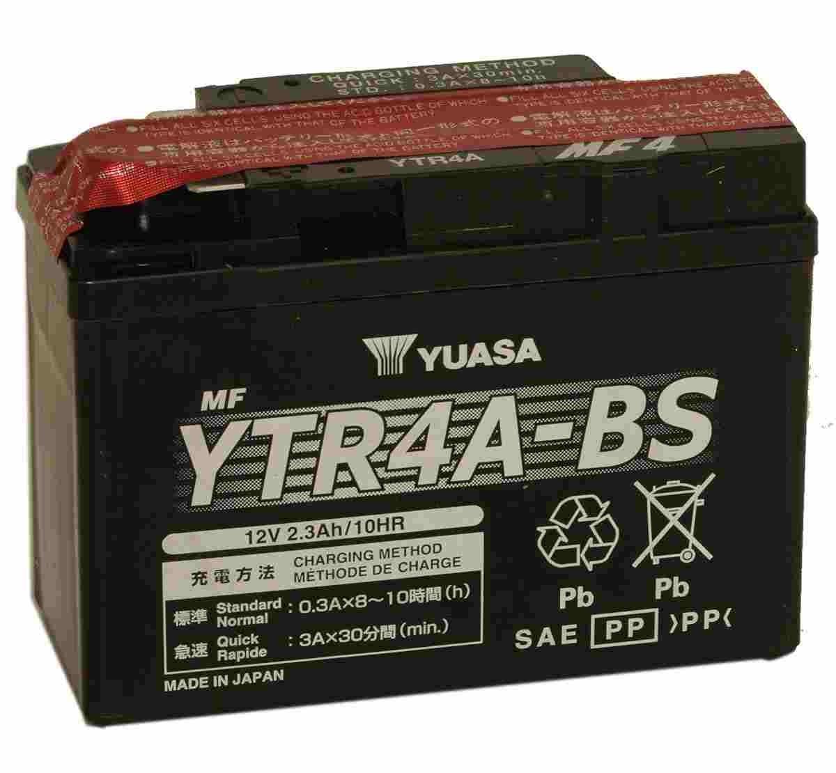 Battery for scooter or moped model brand YUASA 12V 2.3Ah YTR4A-BS.