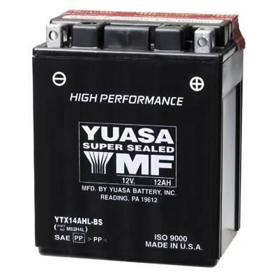 Bateria para moto o ciclomotor marca YUASA modelo YTX14AHL-BS de 12v 12Ah