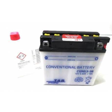 Bateria para moto o ciclomotor marca POWER THUNDER, TAB modelo 12N5.5-3B de 12v 5.5Ah