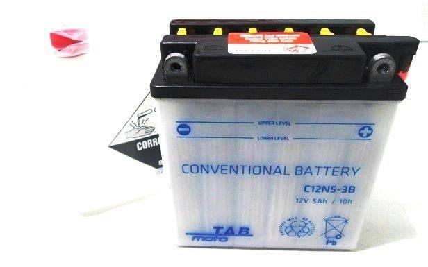 Bateria para moto o ciclomotor marca POWER THUNDER, TAB modelo 12N5-3B de 12v 5Ah
