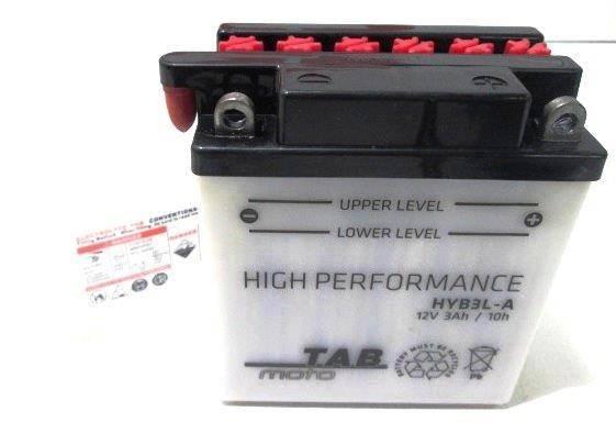 Bateria para moto o ciclomotor marca POWER THUNDER, TAB modelo YB3L-A de 12v 3Ah