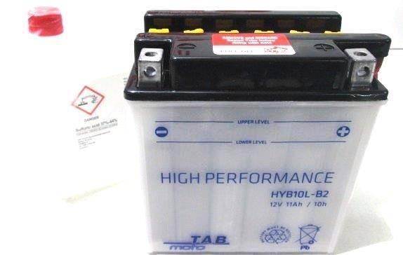 Bateria para moto o ciclomotor marca POWER THUNDER, TAB modelo YB10L-B2 de 12v 11Ah