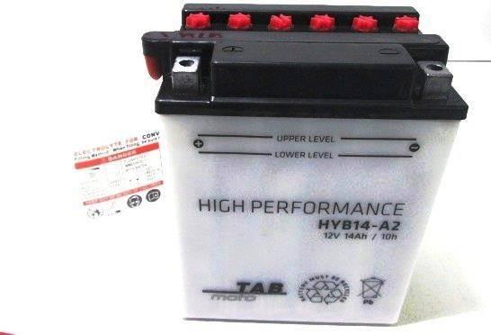 Bateria para moto o ciclomotor marca POWER THUNDER, TAB modelo YB14-A2 de 12v 14Ah