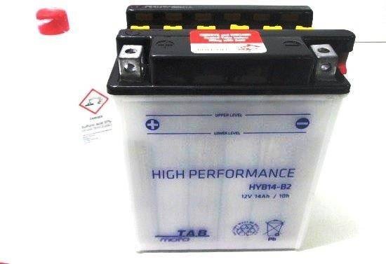 Bateria para moto o ciclomotor marca POWER THUNDER, TAB modelo YB14-B2 de 12v 14Ah