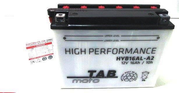 Bateria para moto o ciclomotor marca POWER THUNDER, TAB modelo YB16AL-A2 de 12v 16Ah