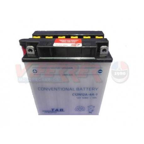 Bateria para moto o ciclomotor marca POWER THUNDER O TAB modelo 12N12A-4A-1 de 12v 12Ah
