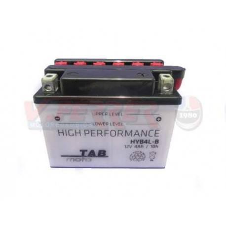 Bateria para moto o ciclomotor marca POWER THUNDER O TAB modelo YB4L-B de 12v 4Ah (con ácido)