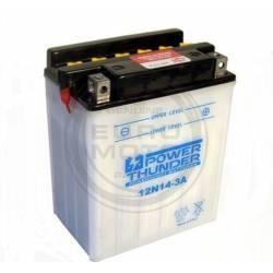 Bateria para moto o ciclomotor marca POWER THUNDER, TAB modelo 12N14-3A de 12v 14Ah
