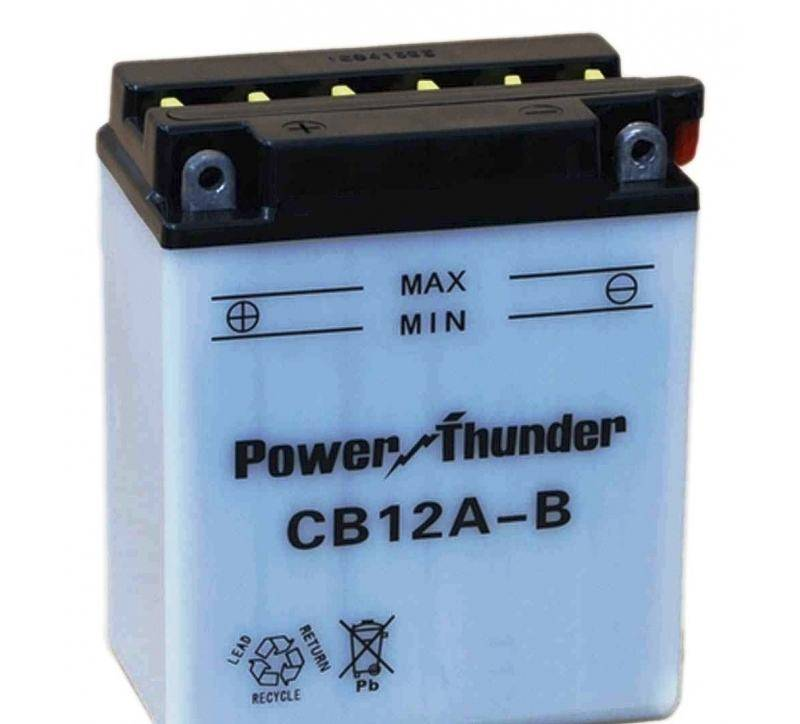 Bateria para moto o ciclomotor marca POWER THUNDER, TAB modelo YB12A-B de 12v 12Ah