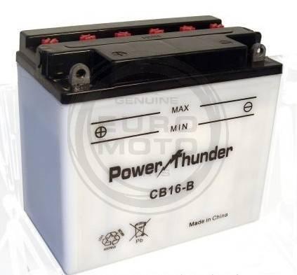 Bateria para moto o ciclomotor marca POWER THUNDER, TAB modelo YB16-B de 12v 19Ah