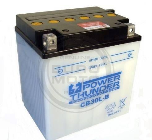 Bateria para moto o ciclomotor marca POWER THUNDER, TAB modelo YB30L-B de 12v 30Ah