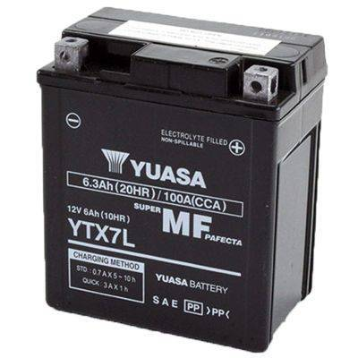 Bateria para moto o ciclomotor marca YUASA modelo YTX7L-BS de 12v 6Ah