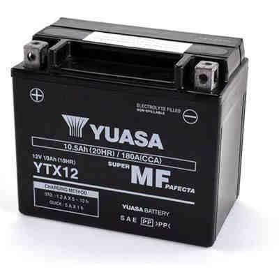 Batería para moto o ciclomotor de marca Yuasa modelo YTX12-BS de 12v 10Ah