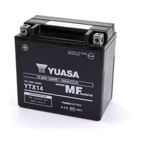 Bateria para moto o ciclomotor marca YUASA modelo YTX14-BS de 12v 12Ah