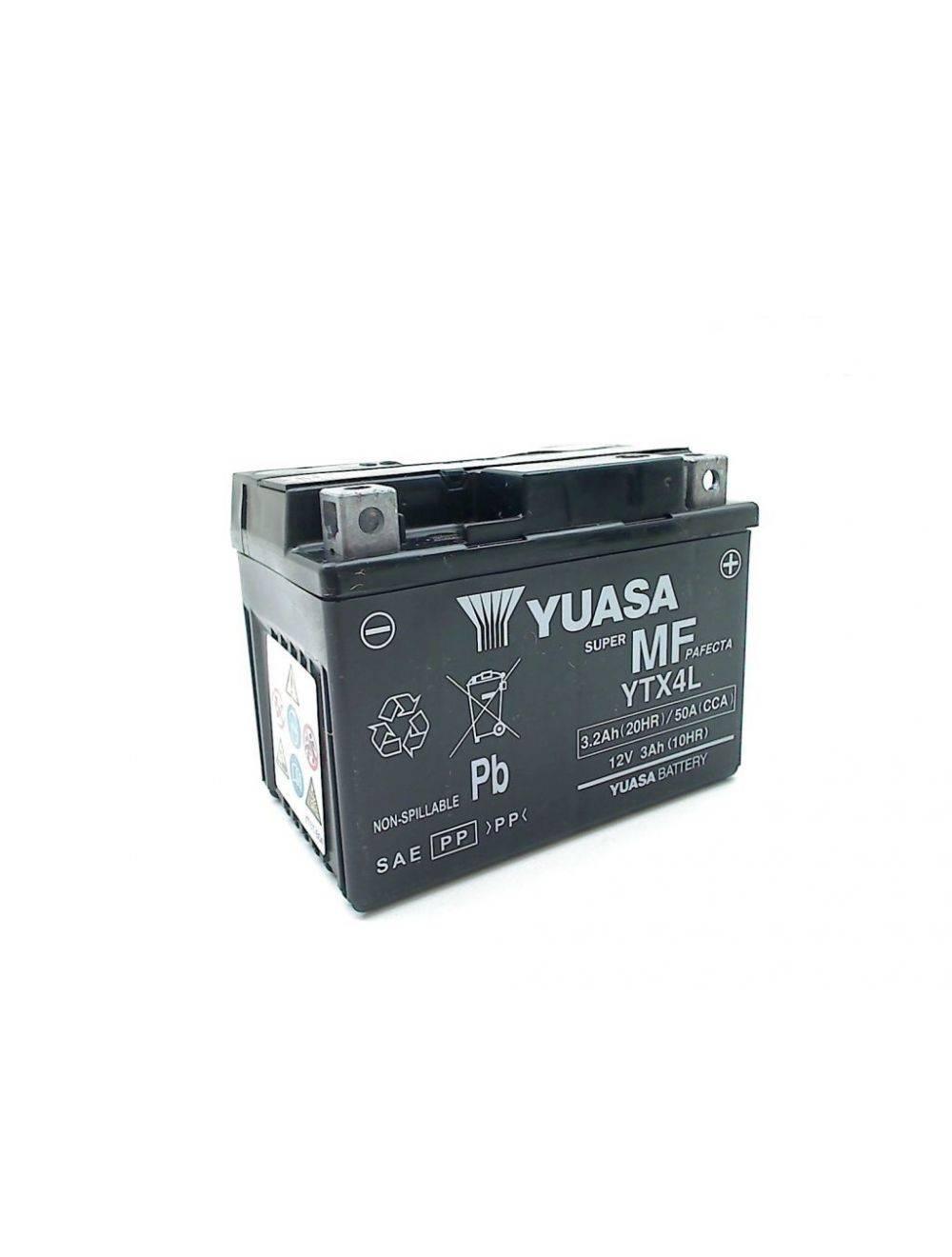 Battery for scooter or moped brand YUASA model BSDE YTX4L-12v 3Ah.